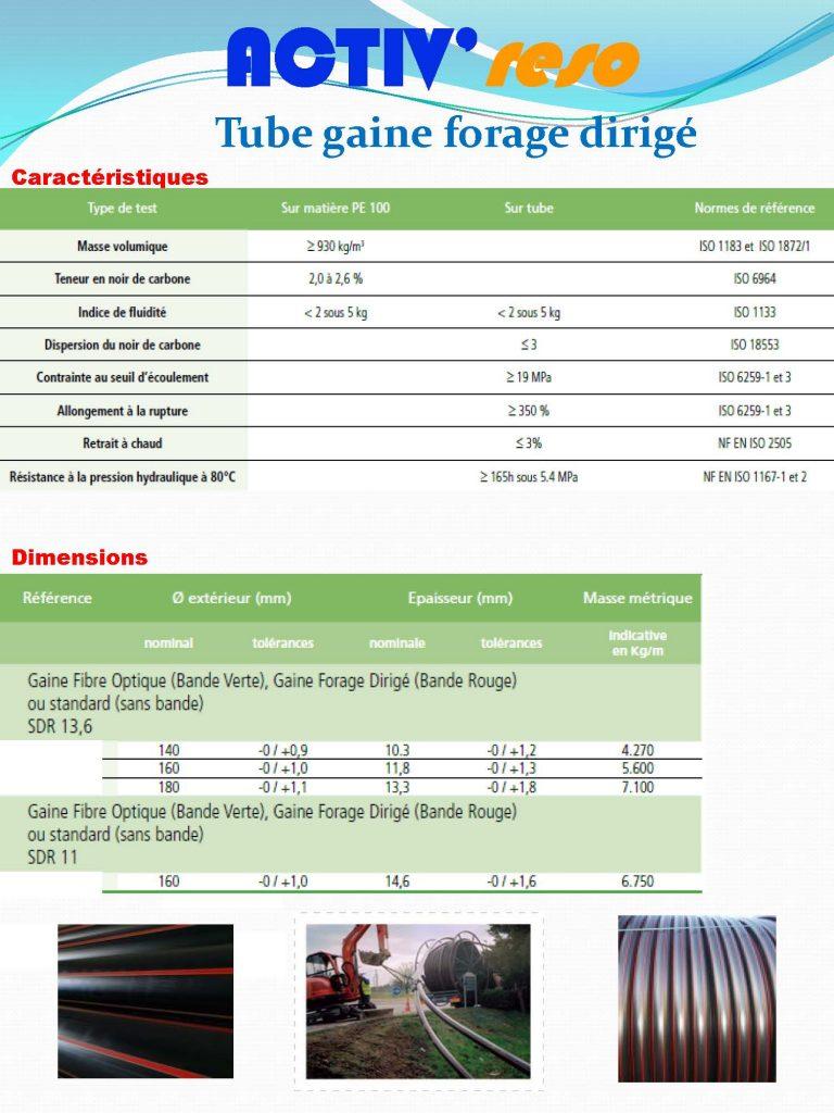 ACTIV'reso - Electricité - Tube gaine forage dirigé PE100 : caractéristiques