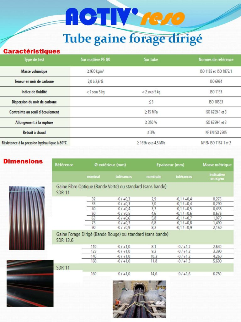 ACTIV'reso - Electricité - Tube gaine forage dirigé PE80 : caractéristiques
