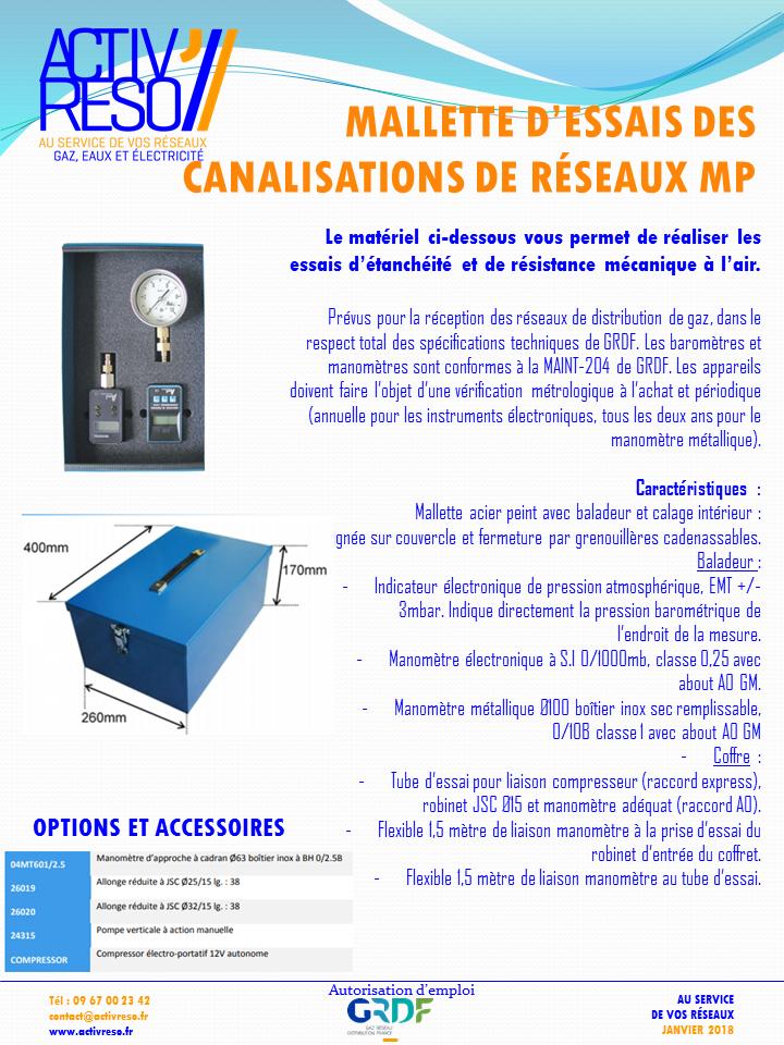 Malette essais reseau reseau gaz - ActivReso