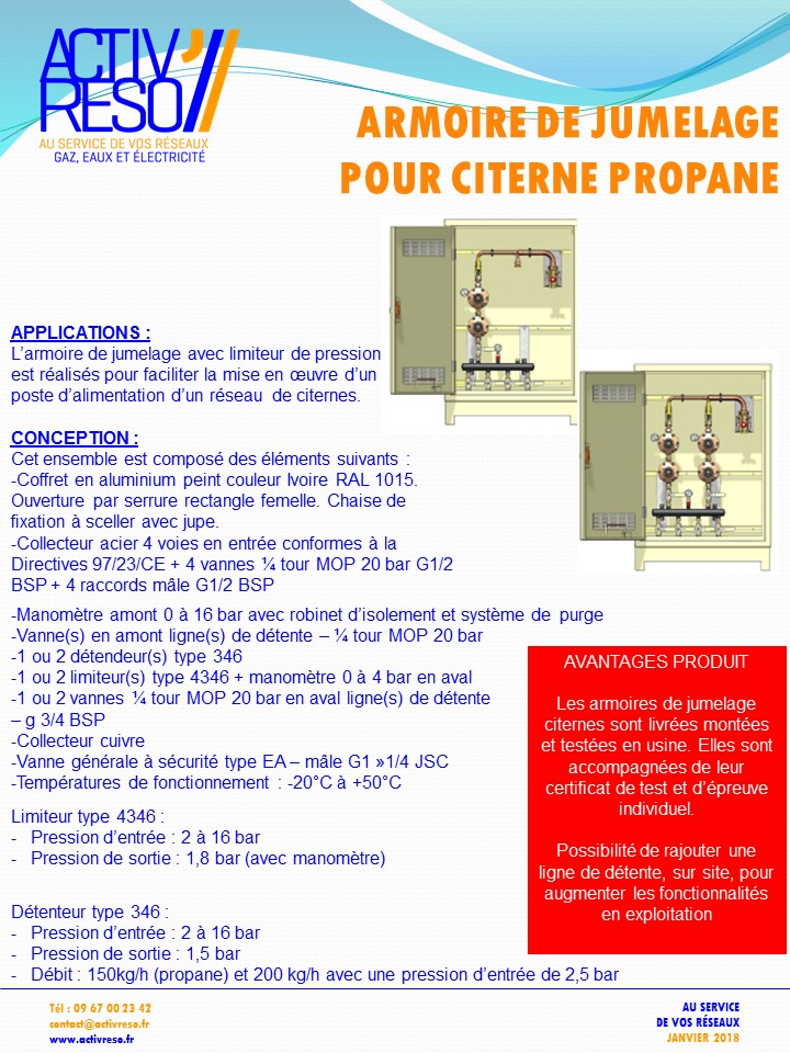 armoire de jumelage pour citerne propane - activreso