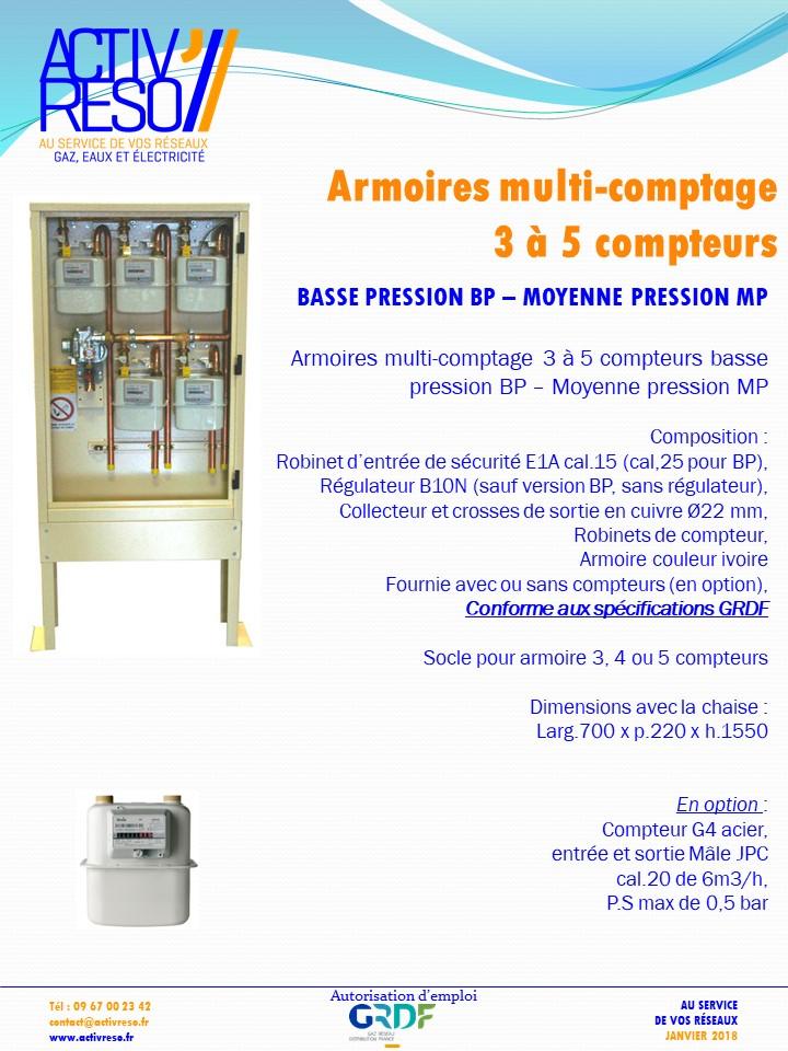 armoire multi comptage gaz 3 5 compteurs activ 39 reso. Black Bedroom Furniture Sets. Home Design Ideas