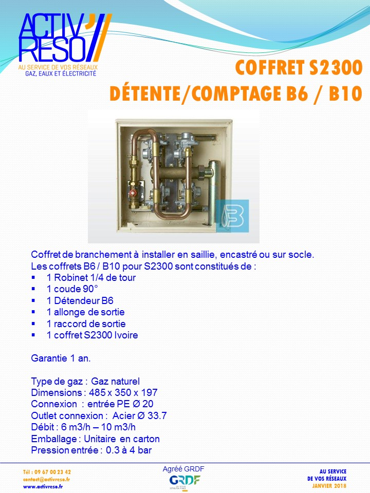 coffret gaz S2300 coupure & détente B6_B10 -activreso