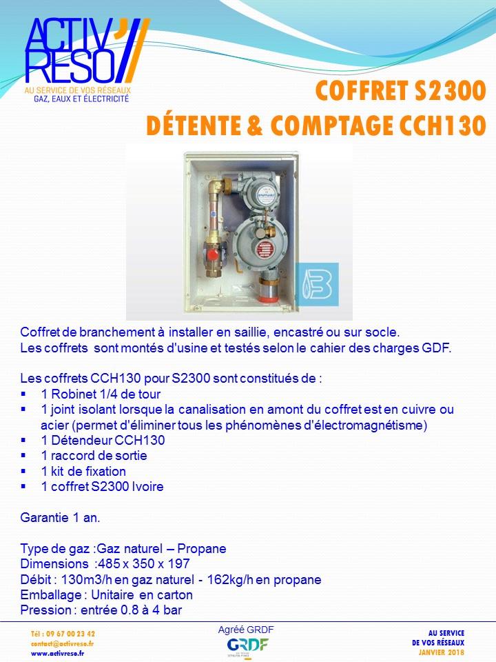coffret gaz S2300 coupure & détente CCH130 -activreso