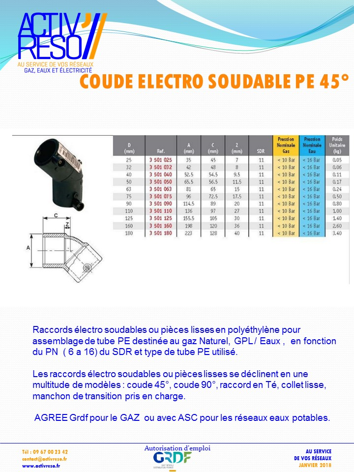 coude electro soudable PE 45°- activreso