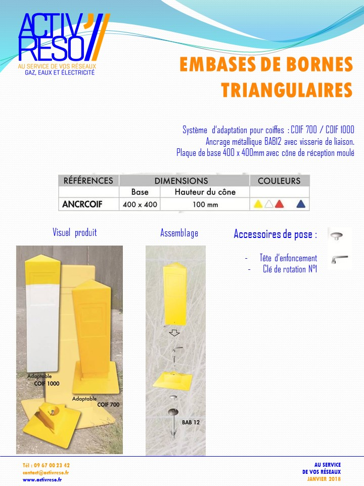 embases de bornes triangulaires - activreso