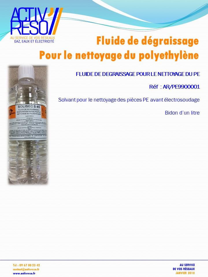 fluide de degraissage pour le nettoyage du pe - fluide