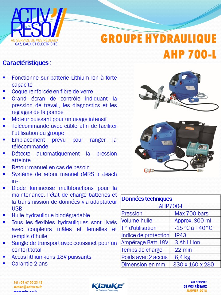groupe hydraulique AHP 700-L - activreso
