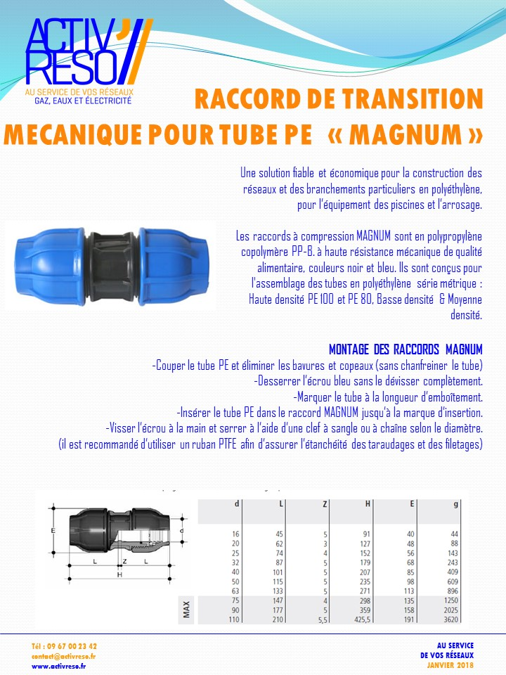 raccord de transition mécanique pour tube PE MAGNUN - activreso