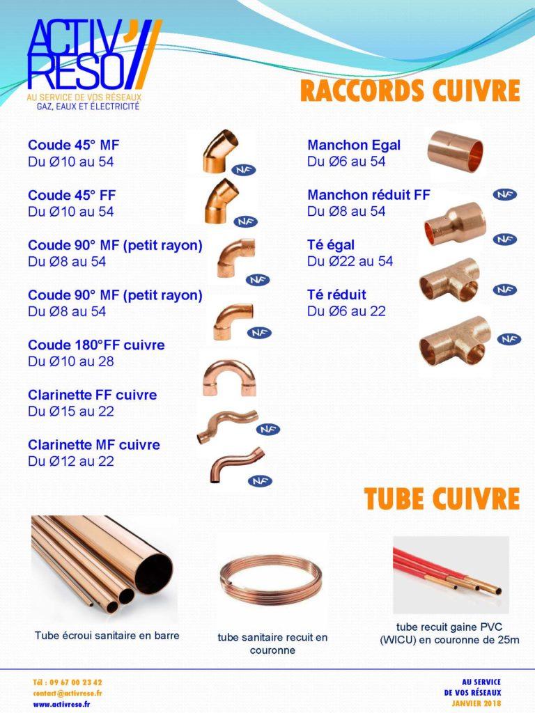 raccords et tube cuivre- activreso
