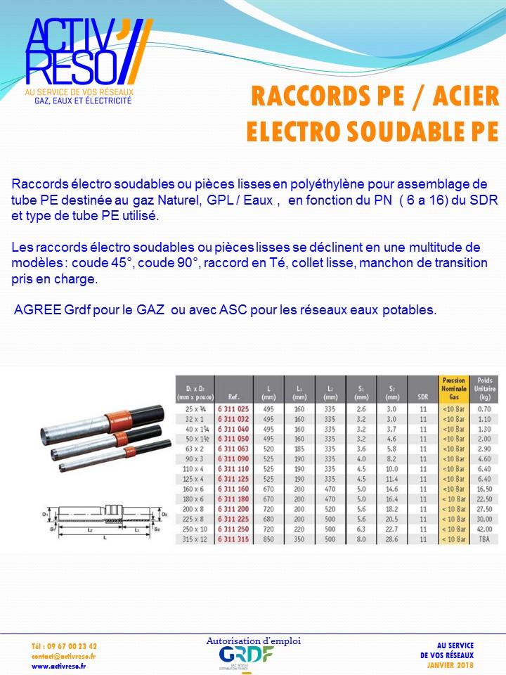 raccords pe-acier electrosoudable pe - activreso
