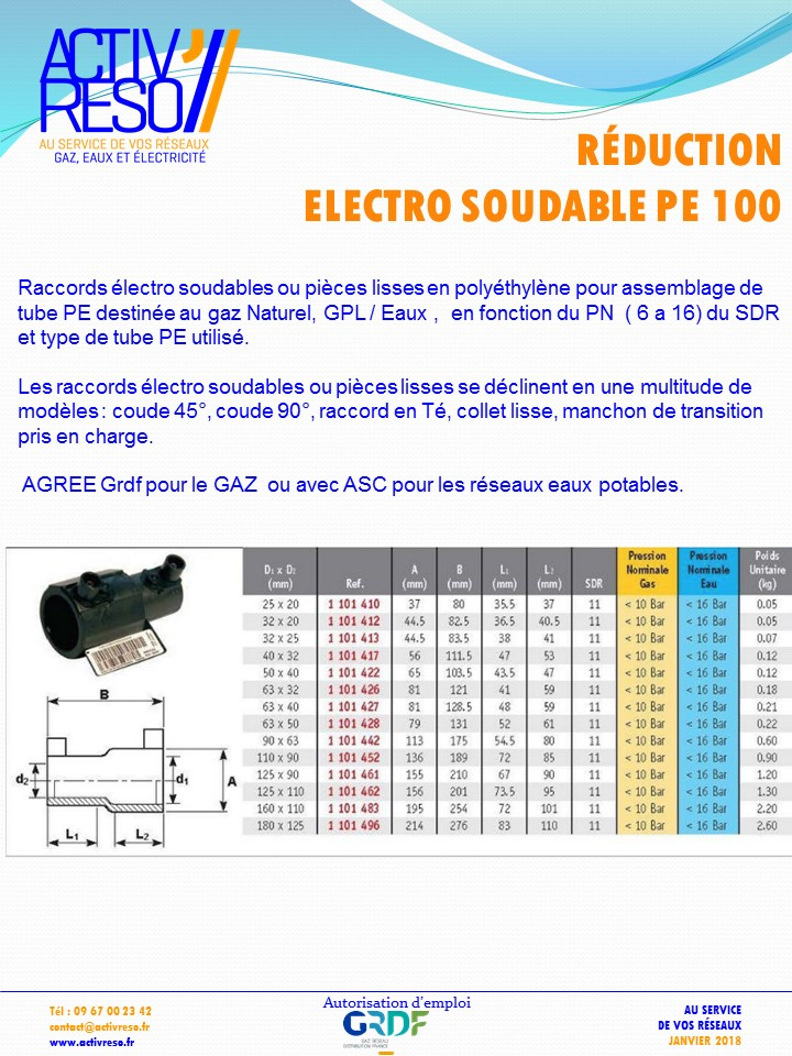 reduction electrosoudable pe100 - activreso