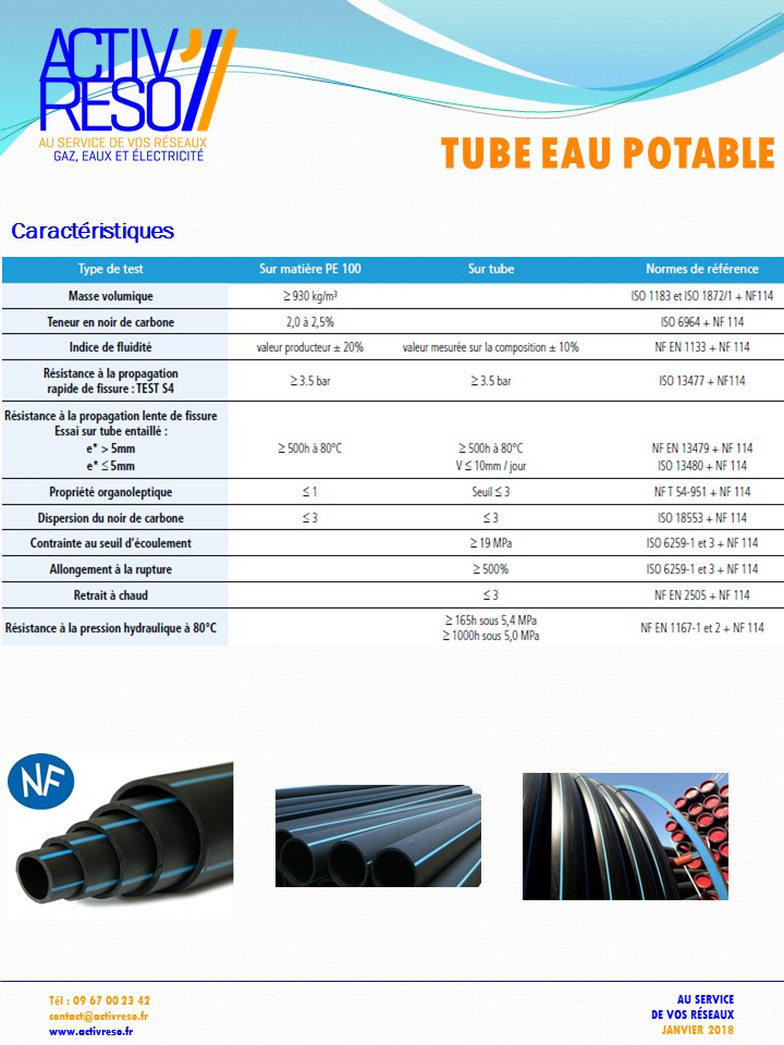 tube eau potable PE100 - activreso