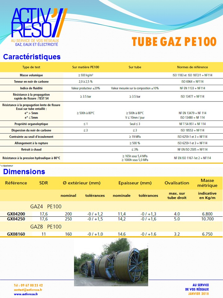 tube gaz pe100 - activereso