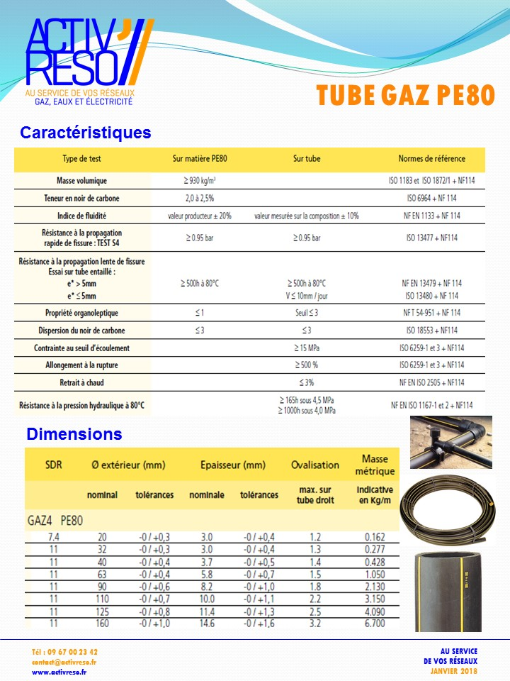 tube gaz pe80 - activereso