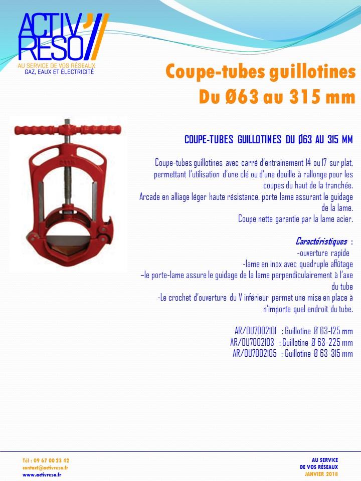 Coupe-tubes guillotine du Ø63 au 315mm - activreso