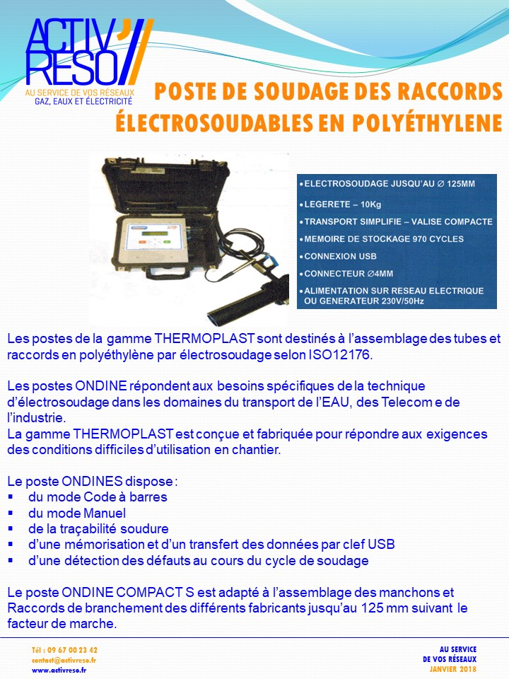 Poste soudage des raccords Esoudable en polyéthylène - activreso