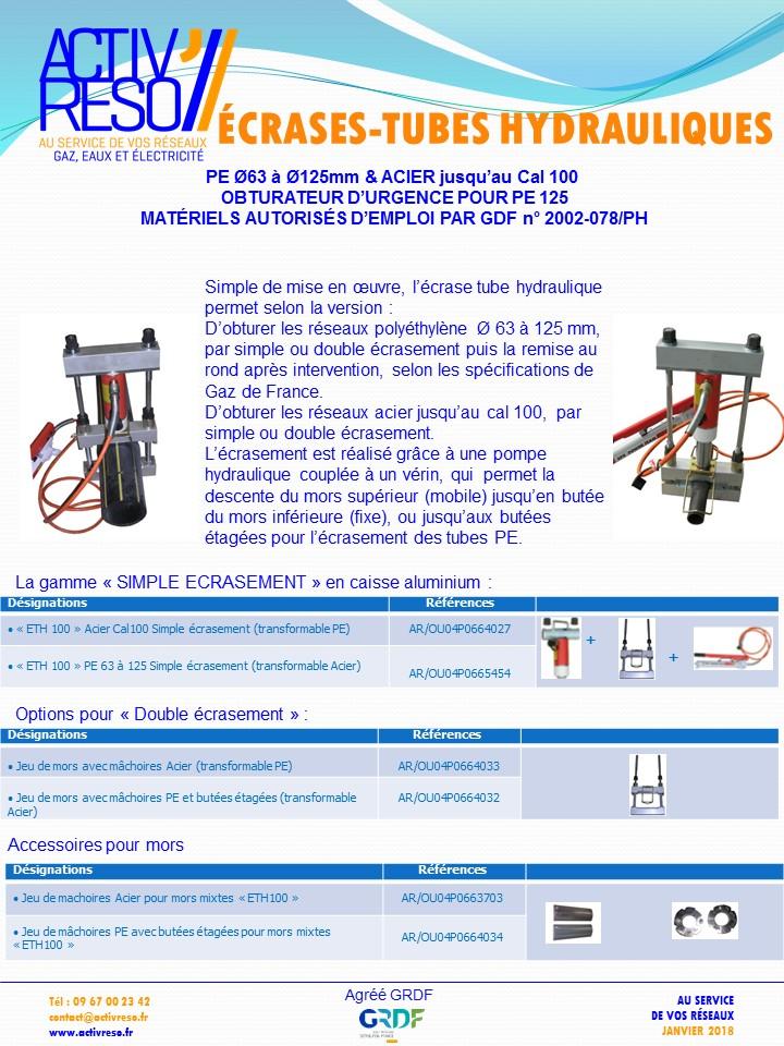 ecrase-tube hydraulique AC PE Ø63-125 - activreso