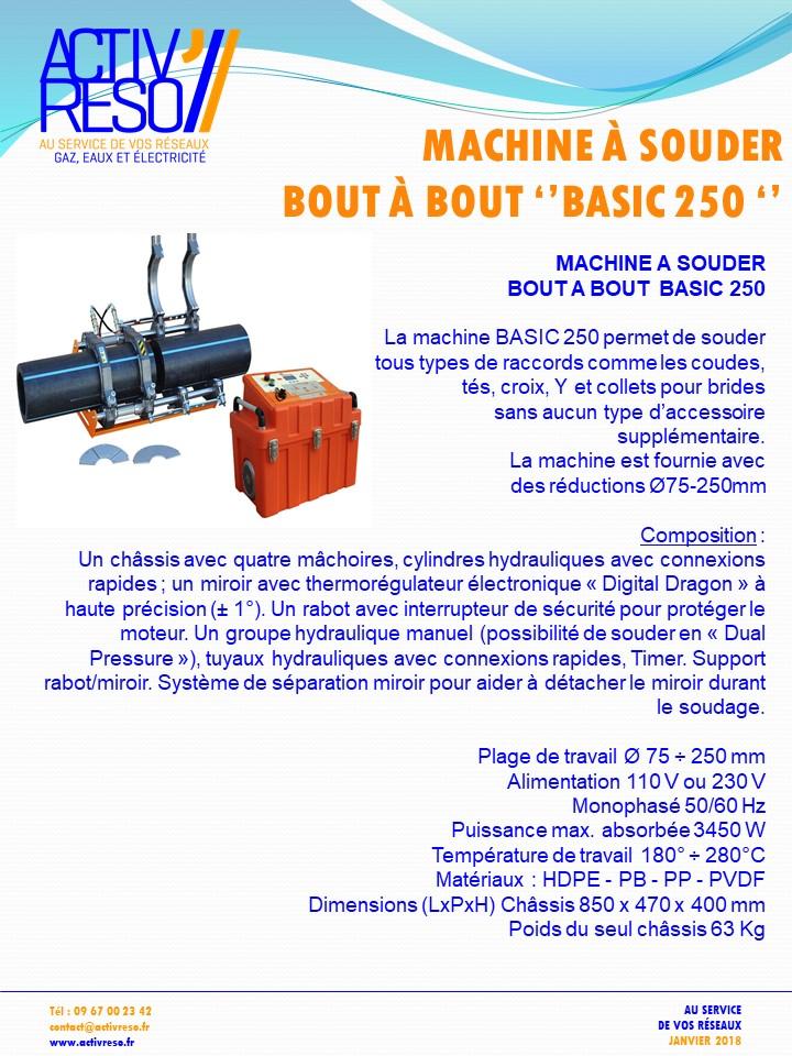machine a souder bout a bout basic 250 - acitvreso