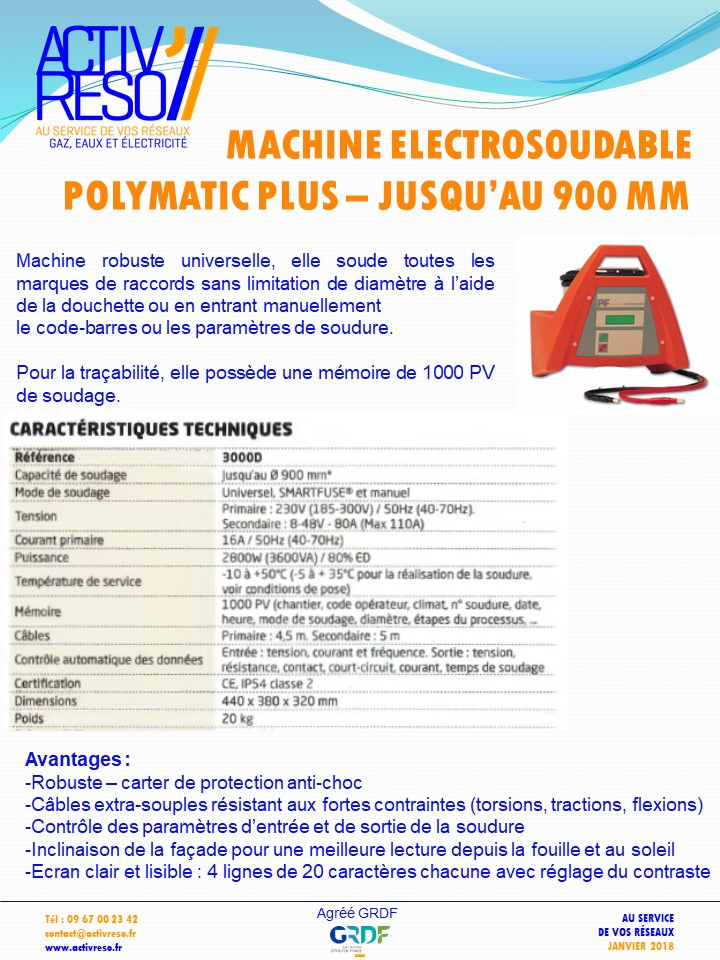 machine electrosoudable polymatic plus - activreso