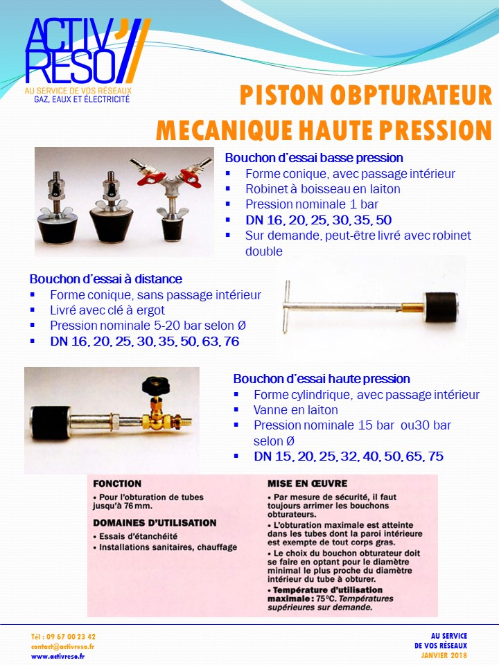 piston obturateur mecanique haute pression - activreso