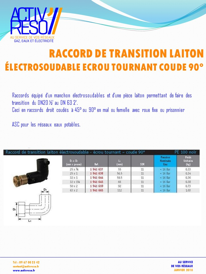 raccord transition electrosoudable laiton ecrou tournant coude 90 - activreso