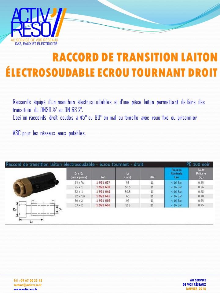 raccord transition electrosoudable laiton ecrou tournant droit - activreso