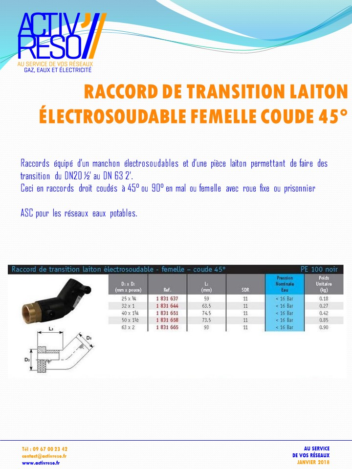 raccord transition electrosoudable laiton femelle coude 45- activreso