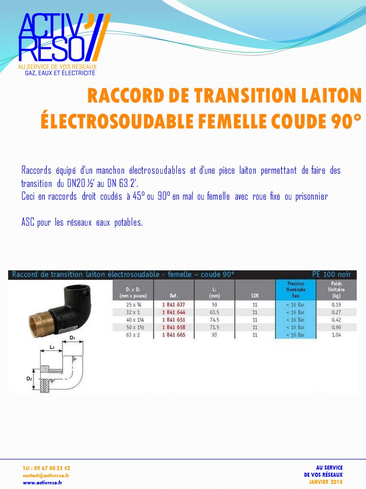 raccord transition electrosoudable laiton femelle coude 90 - activreso