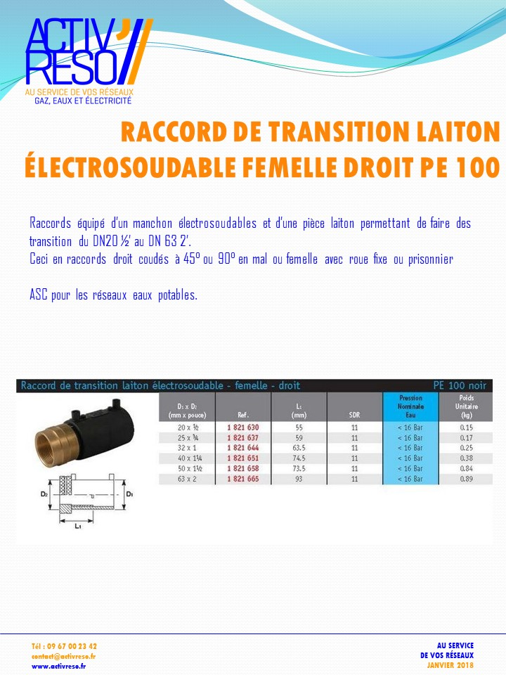 raccord transition electrosoudable laiton femelle droit- activreso
