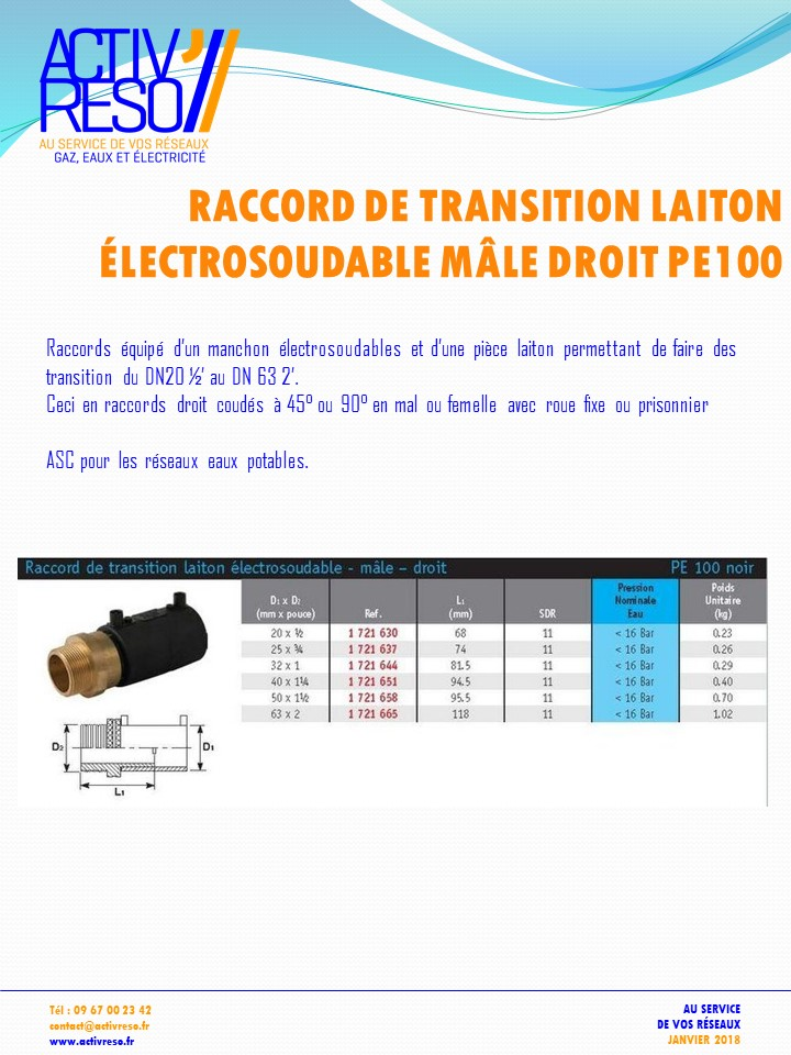 raccord transition electrosoudable laiton mâle - activreso