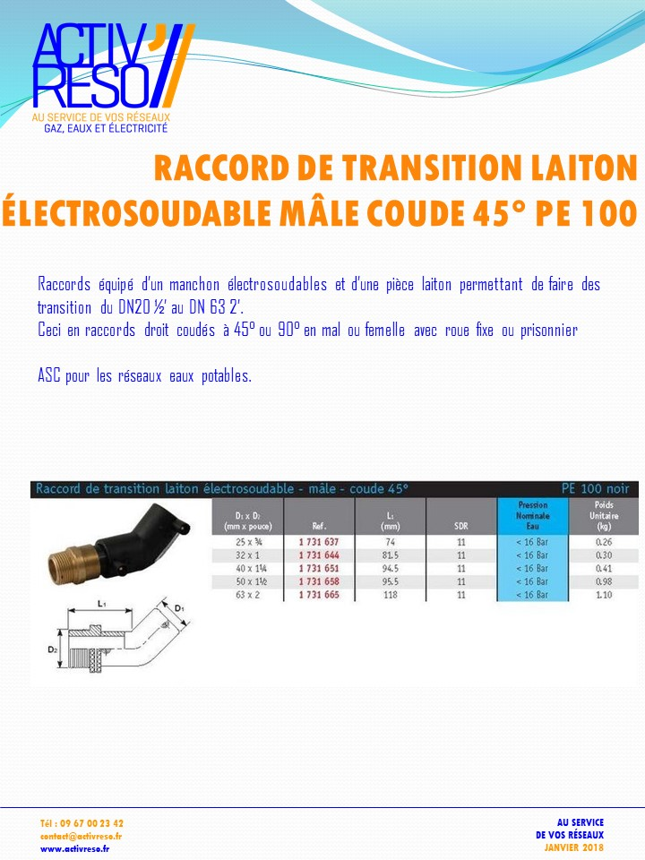 raccord transition electrosoudable laiton mâle coude 45- activreso