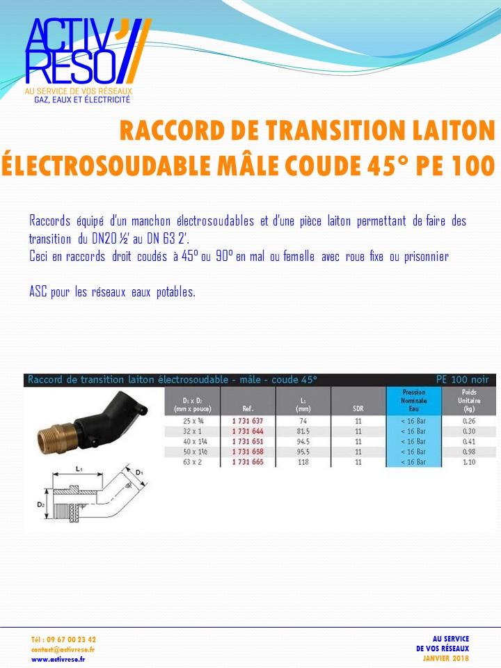 raccord transition electrosoudable laiton mâle coude 45- activreso