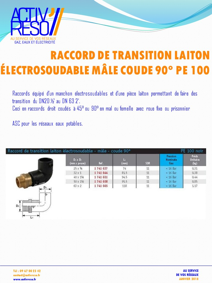raccord transition electrosoudable laiton mâle coude 90- activreso