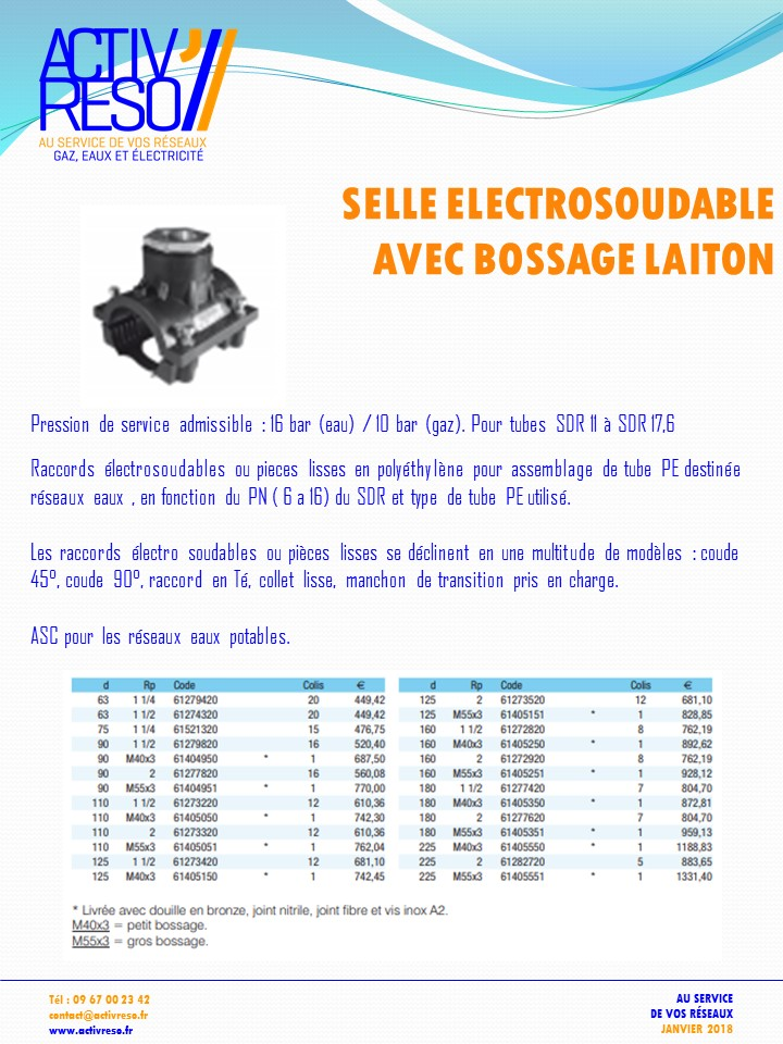 selle de derivation bossage laiton - activreso