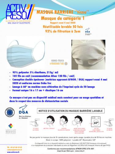 MASQUE BARRIERE ''tissu'' Masque de catégorie 1 Rapport essai 4 mai 2020 Réutilisable lavable 50 fois 93% de filtration à 3um