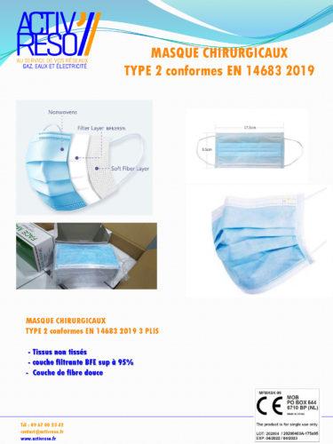 masques de protection chirurgicaux 3 plis - activreso